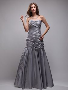 Gray Sweetheart Hand Flowers Prom Evening Dress in Mermaid
