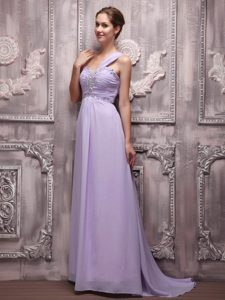 Lilac One Shoulder Beading Prom Evening Dress Attached Brush Train