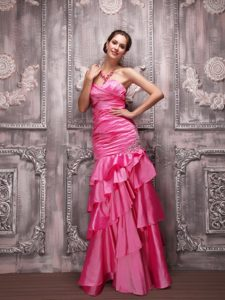 Hot Pink Column Sweetheart Prom Celebrity Dress with Beading