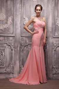 Watermelon Column Strapless Brush Train Beading Prom Evening Dress