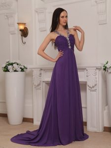Beaded V-neck Brush Train Ruching Prom Pageant Dress in Purple