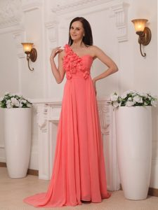 Watermelon One Shoulder with Flowers Brush Train Prom Pageant Dress