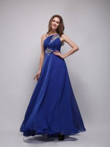 Asymmetrical One Shoulder with Cutout Blue Beading Prom Gown
