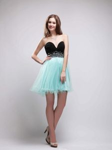 A-Line Sweetheart Beading Prom Formal Dress in Black and Apple Green