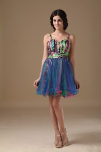 Straps A-line Multi-color Organza and Printing Beading Prom Formal Dresses