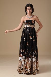 Brown Strapless Empire Long Prom Nightclub Dress with Printing