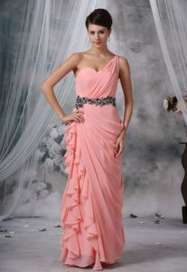 Beading and Ruche One Shoulder Light Pink Chiffon Floor-length Prom Dress