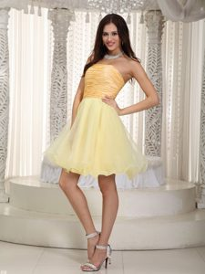 Light Yellow Ruche A-line Strapless Mini-length Organza JS Prom Dresses