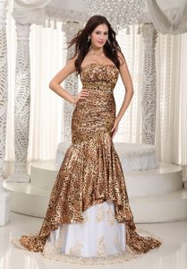 Leopard Mermaid Sweetheart Beading Prom Dress with Court Train
