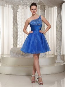 Beaded One Shoulder Royal Blue Organza Prom Homecoming Dress For Party