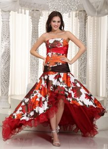 Colorful High-low A-line Strapless Organza and Printing Beading Prom Dress