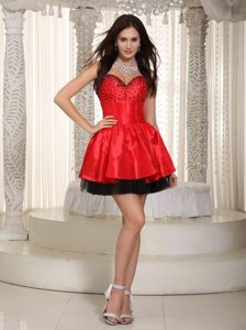 Beaded Prom Dama Dresses for Quince Dress in Red and Black