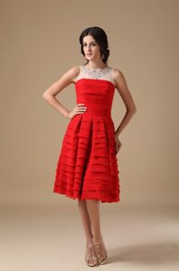 Red Prom Dama Dresses for Quince Dress with Beading and Layers