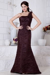 Burgundy Mermaid Ruched One Shoulder Prom Dress with Flower