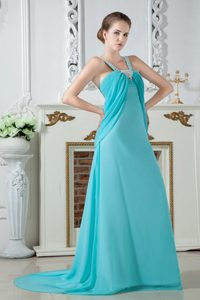 Straps Turquoise Empire Brush Train Ruche and Beading Prom Dress
