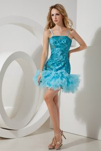 Aqua Blue A-line Straps Tulle and Sequin Prom Homecoming Dress