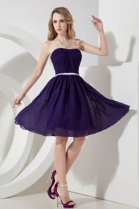 Pretty Purple Strapless Knee-length Ruched Prom Dress Wholesale