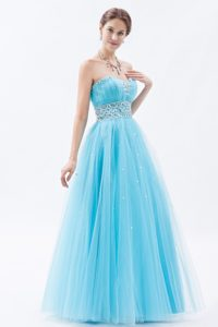 Cute Princess Baby Blue Prom Celebrity Dress with Rhinestones