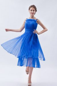 Brand New Blue Pleated Prom Evening Dress with Spaghetti Straps
