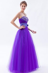 Eggplant Purple Sweetheart A-line Tulle Prom Dress with Beading and Bow