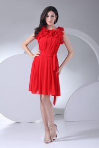 Chiffon Short Red Dresses for Prom Princess with Special Neck