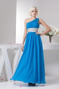 One Shoulder Rhinestones Ruched Teal Dresses for Prom Princess
