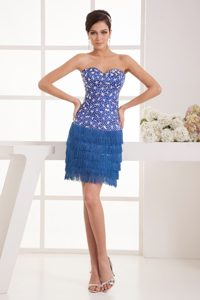 Blue Sweetheart Sheath Mini-length Satin Prom Dress with Rhinestone