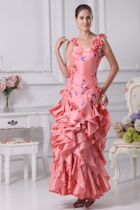 Straps Ruffles Prom Dress with Hand Flower and Embroidery in Watermelon