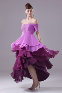 Off-The-Shoulder High Low Purple Prom Dress with Short Sleeves