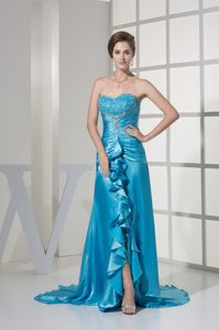 Slit Sweetheart Ruching Embroidery Ruffles Prom Dress with Brush Train