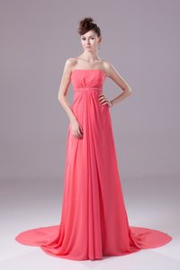 Strapless Watteau Train Beaded Coral Red Prom Evening Dress