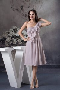 Low Price One Shoulder Ruffled Gray Knee-length Prom Dresses