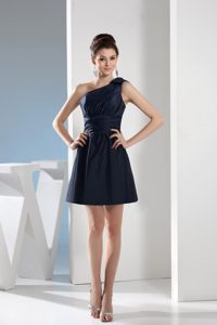 Simple Style Navy Blue One Shoulder Bowknot Short Prom Dress