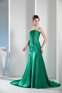 Beading One Shoulder Green Column Ruching Prom Gowns for Party