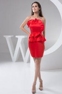 Red Strapless Column Floncing Taffeta Mini-length Prom Celebrity Dress