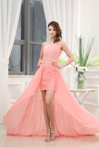 Watermelon Column Beading One Shoulder Prom Dress with Brush Train
