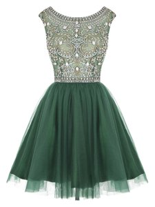 Scoop Beading and Appliques Dress for Prom Peacock Green Zipper Sleeveless Mini Length