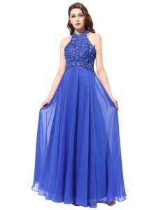 Suitable Red Prom Gown Prom and Party and For with Beading High-neck Sleeveless Backless