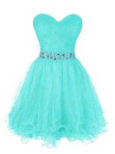 Ruffled A-line Turquoise Sweetheart Organza Sleeveless Mini Length Zipper