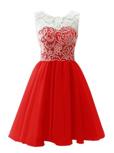 Modern Scoop Mini Length Clasp Handle Dress for Prom Red and In for Prom and Party with Lace
