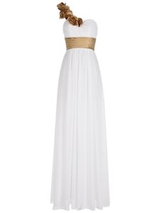 Latest White Prom Party Dress Prom and Party and For with Ruching One Shoulder Sleeveless Zipper