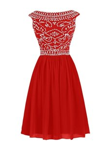Dynamic Knee Length Zipper Prom Gown Red and In for Prom and Party with Beading