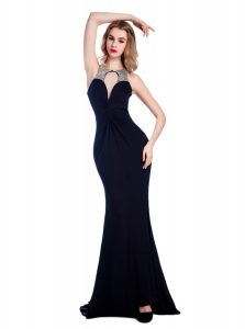 Latest Silk Like Satin High-neck Sleeveless Criss Cross Beading Prom Gown in Black