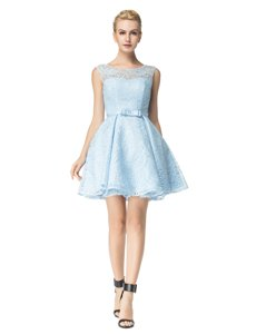 Scoop Light Blue Lace Zipper Prom Dress Sleeveless Mini Length Lace and Belt