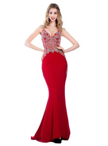 Artistic Mermaid Red Silk Like Satin Backless Prom Dresses Sleeveless With Brush Train Beading