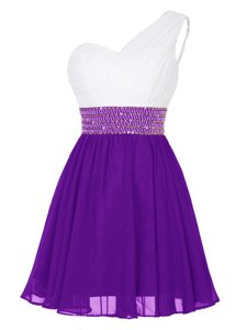 Empire Prom Dresses White And Purple One Shoulder Chiffon Sleeveless Mini Length Zipper