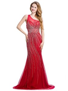 Red One Shoulder Zipper Beading Prom Evening Gown Brush Train Sleeveless