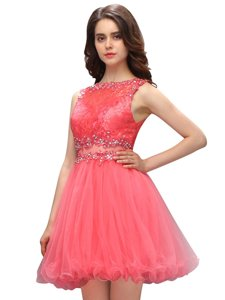 Scoop Sleeveless Knee Length Beading Zipper Prom Dress with Champagne