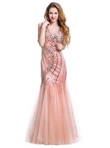 Cheap Mermaid Peach Sleeveless Floor Length Beading Lace Up Evening Dress