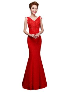 Fine Red Lace Lace Up V-neck Sleeveless Floor Length Prom Party Dress Lace